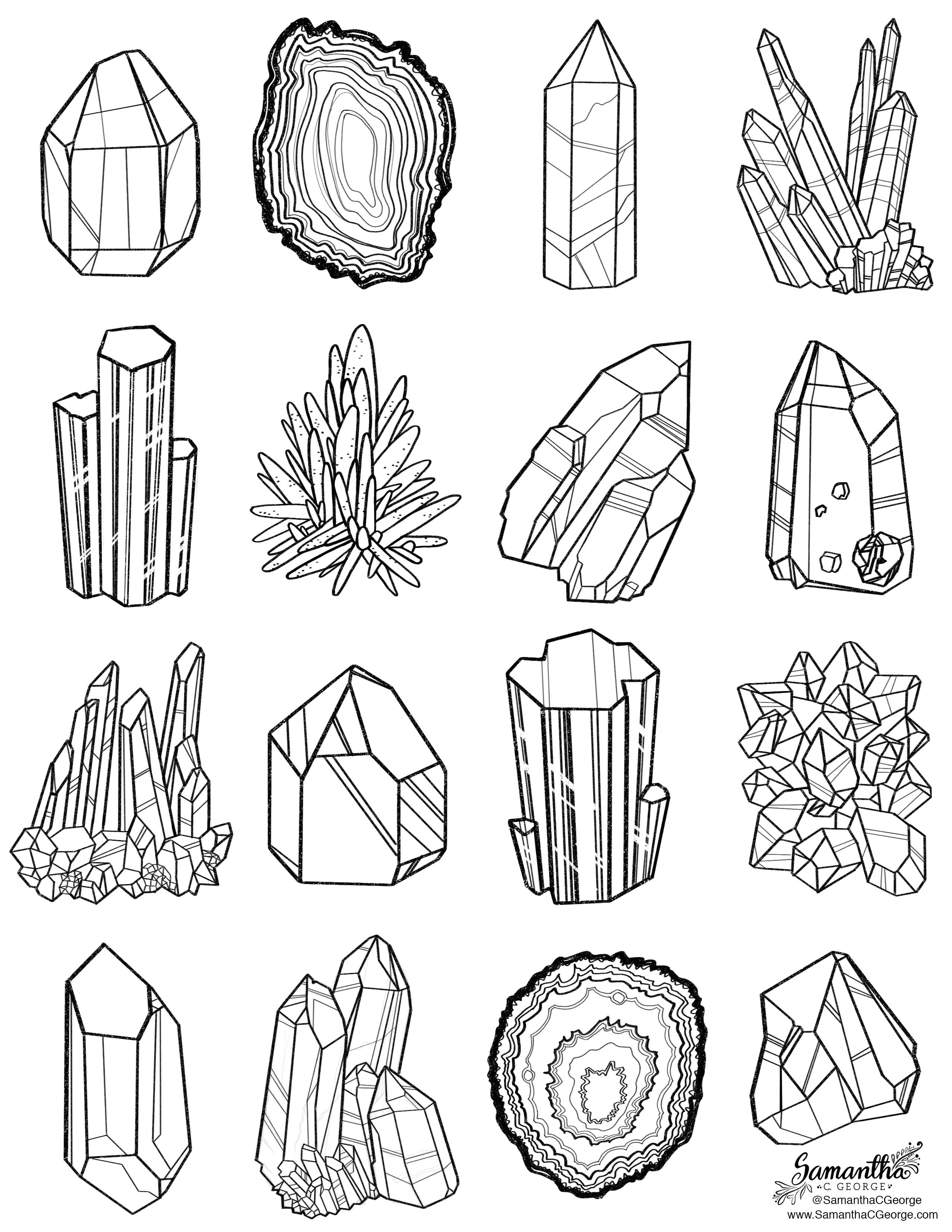 free gem and mineral coloring page - Watercolor Pages